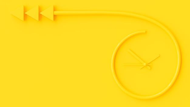 Żółty zegar przypomina strzałkę na ścianie, renderowanie 3d.