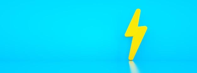 Żółty znak zasilania elektrycznego na niebieskim tle, panoramiczny układ z miejscem na tekst, renderowanie 3d