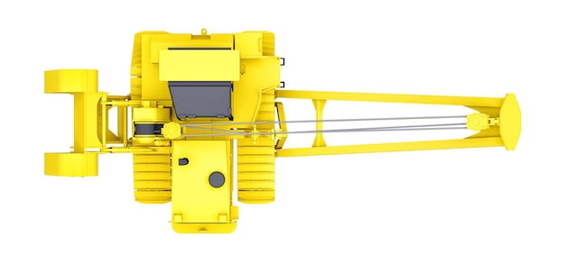 Żółty żuraw gąsienicowy z bocznym wysięgnikiem. renderowanie 3d.