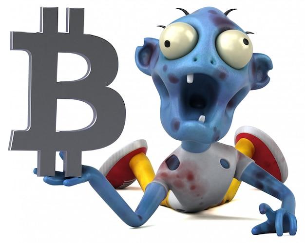 Zombie i bitcoin - postać 3d