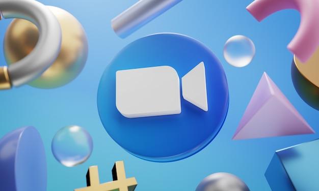 Zoom logo wokół renderowania 3d abstrakcyjny kształt tła