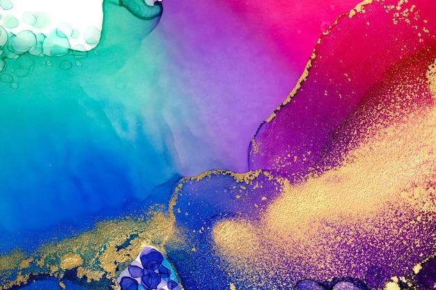 Zorza polarna imitujący akwarelowy kolor gradientu ze złotą ilustracją gltter