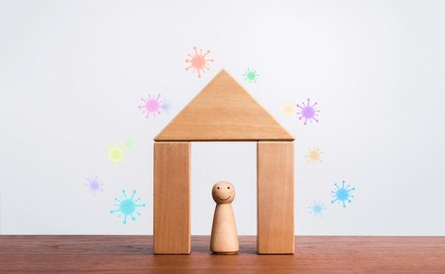 Zostań w domu, bądź bezpieczny, koncepcja samodzielnej kwarantanny. izolacja domu przed pandemią wirusa covid-19. uśmiechnięta twarz drewniana figura pozostaje w symbolu domu drewna na białym tle z kolorowym wirusem na zewnątrz.