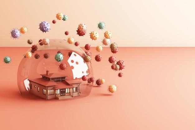 Zostań w domu zachowaj spokój slogan house w szklanej kuli chroniącej koronawirusa
