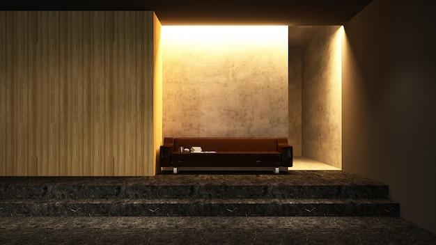 Zrelaksuj się przestrzeń puste renderowanie 3d - dekoracyjne ściany