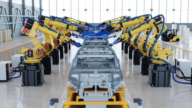 Zrobotyzowany montaż samochodowy w fabryce.