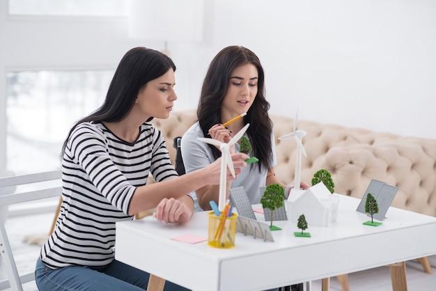 Źródło energii. kobieta z upośledzeniem refleksyjnym i koleżanka rozmawiająca i pracująca z alternatywnymi modelami energii