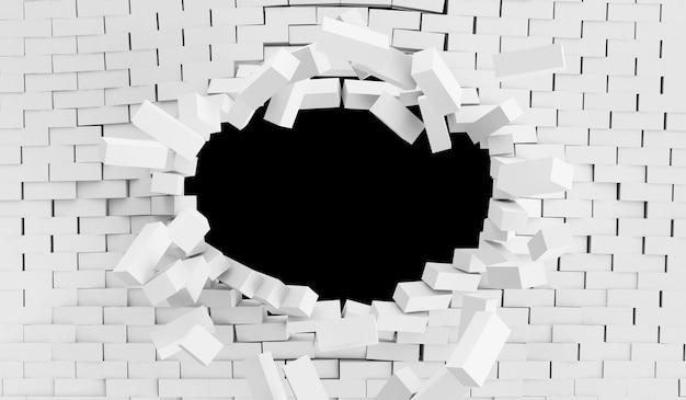Zrujnowany biały mur z cegły