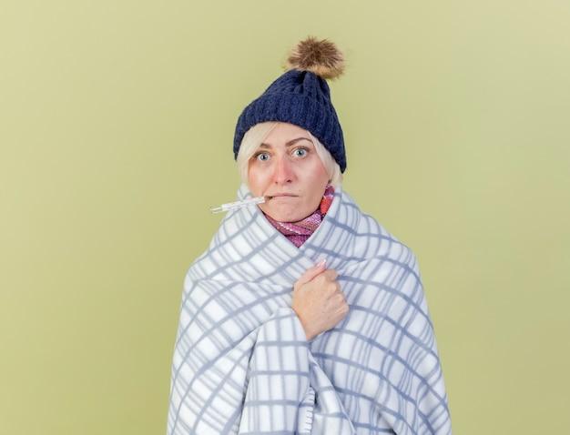 Zszokowana młoda blondynka chora kobieta w czapce zimowej i szaliku trzyma termometr w ustach zawinięty w kratę na białym tle na oliwkowej ścianie