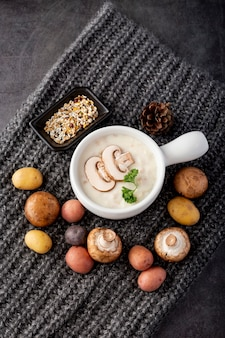 Zupa grzybowa z grzybami na szarym szaliku