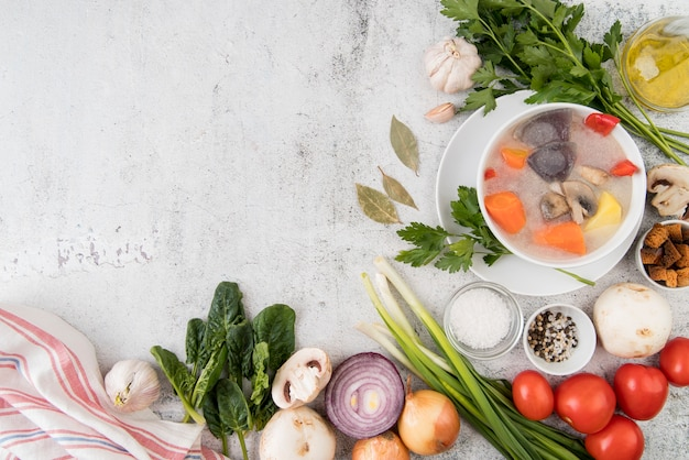 Zupa warzywna i naturalne składniki kopiować miejsca