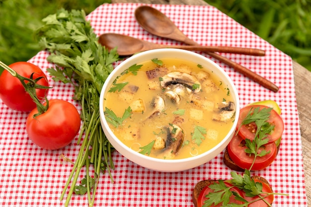 Zupa z pieczarkami i grzankami na białym talerzu na świeżym powietrzu.