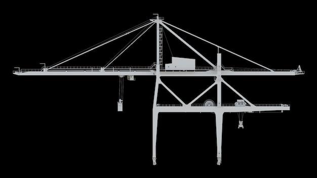Żuraw port morski na czarnym tle. renderowania 3d.