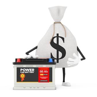Związany rustykalne płótno lniane worek pieniędzy lub worek pieniędzy i maskotka znaków znak dolara z akumulatorem samochodowym 12 v akumulatorem i streszczenie etykieta na białym tle. renderowanie 3d