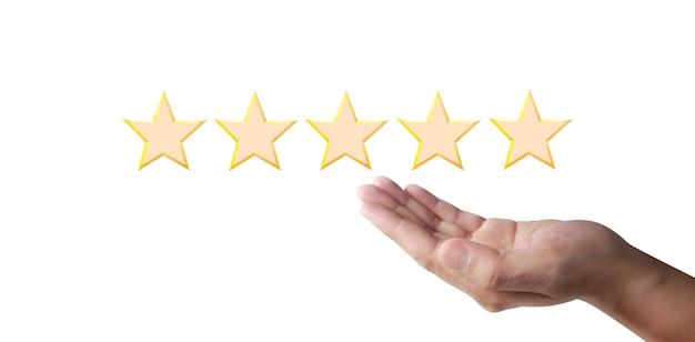 Zwiększenie pięciu gwiazdek. zwiększ ocenę oceny i koncepcję klasyfikacji