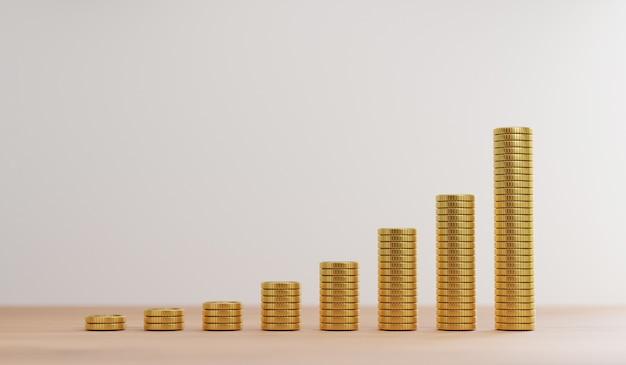 Zwiększenie złotych monet układających się na drewnianym stole dla koncepcji depozytu inwestycyjnego i bankowego poprzez renderowanie 3d.