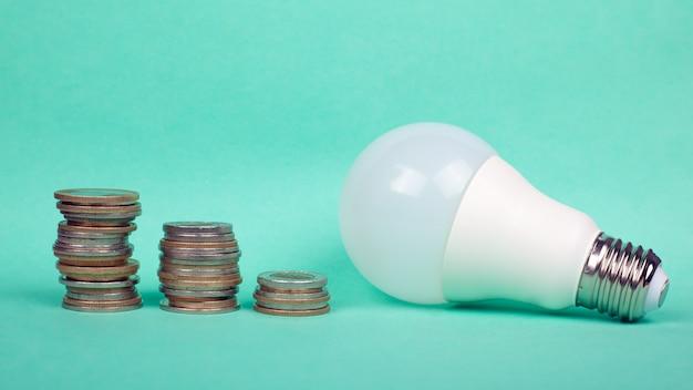 Zwiększone taryfy energii elektrycznej, ekonomiczna zielona energia elektryczna, żarówka led i monety.
