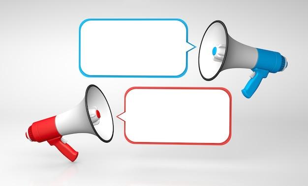 Zwiększony dialog czerwony i niebieski megafon z bąbelkami szablon z miejscem na kopię tekstu