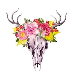 Zwierzęca czaszka jelenia z jesiennymi liśćmi i kwiatami. akwarela w stylu vintage boho