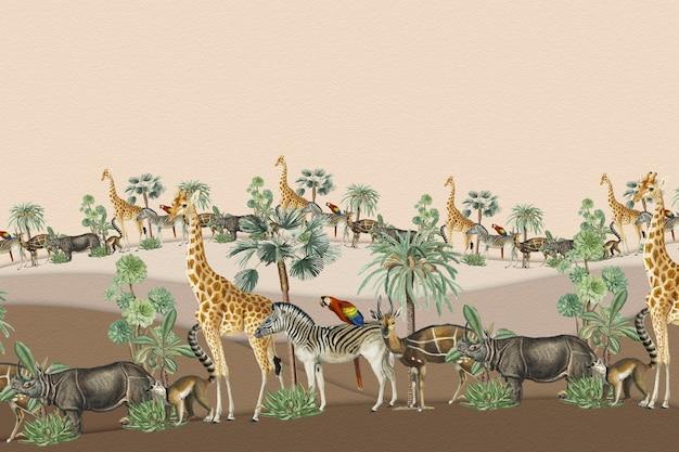 Zwierzęcy krajobraz z beżową przestrzenią projektową