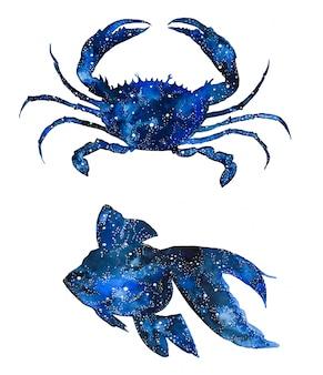 Zwierzęta morskie w galaktyce akwarelowej. ręcznie malowane kraby i ryby.