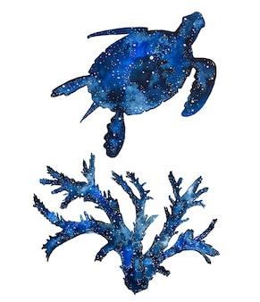 Zwierzęta morskie w galaktyce akwarelowej. ręcznie malowany żółw i koralowce.