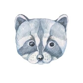 Zwierzęta szop ładny kaganiec twarz kreskówka akwarela ręcznie rysowane ilustracja. drukuj dziecko obraz dekoracji tło plakat patern bez szwu