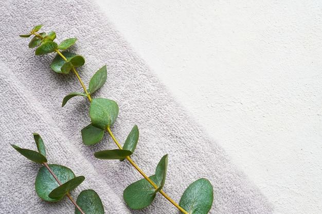 Zwinięty ręcznik szary i zielona gałąź eukaliptusa na białym betonowym stole. minimalistyczny skandynawski