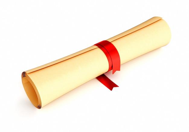 Zwój papieru z czerwoną wstążką