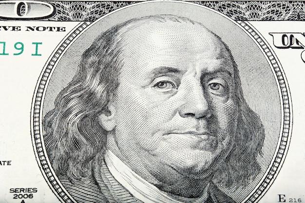 Zwolniony makro portret benjamina franklina. zdjęcie w wysokiej rozdzielczości.