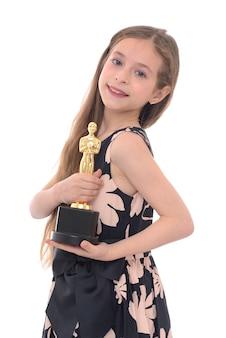 Zwycięzca girl with her trophy