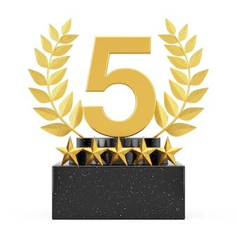 Zwycięzca kostka złoty laurel wieniec podium, scena lub cokół z gwiazdami złotej nagrody i numer pięć na białym tle. renderowanie 3d