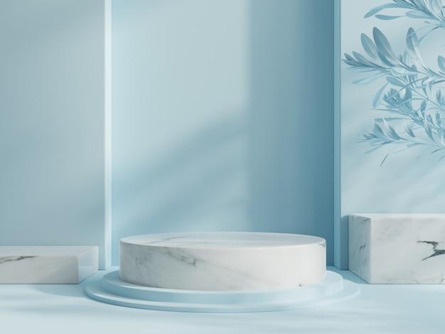 Zwycięzca podium abstrakcyjna kompozycja z niebieskim tłem.