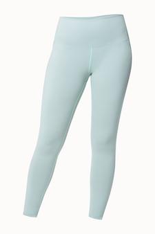 Zwykłe niebieskie legginsy izolowane sportowa sesja odzieży sportowej studio