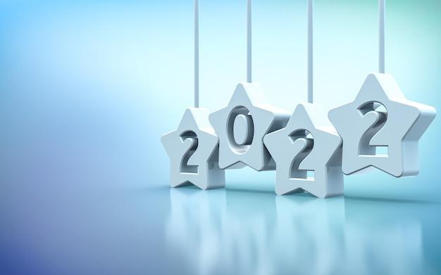 Życzę szczęśliwego nowego roku 2022 renderowania 3d tła premium