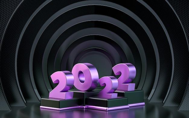 Życzę szczęśliwego nowego roku 2022 renderowania 3d tła z ciemnym wzorem koła