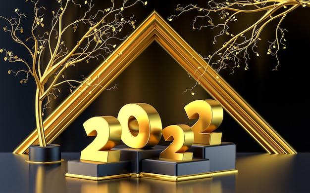 Życzę szczęśliwego nowego roku 2022 renderowania 3d tła ze złotym wzorem i liśćmi