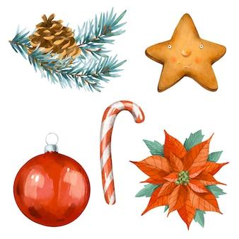 Życzenia bożonarodzeniowe zestaw gałęzi świerkowych, bombka, ciasteczka, candy cane, poinsecja na białym tle