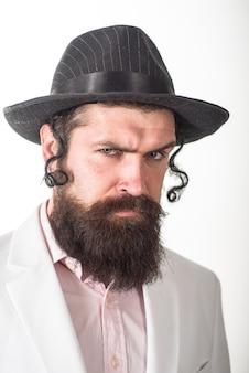 Żyd brodaty żydowski mężczyzna portret brodaty żydowski mężczyzna purim biznes biznesmen festiwal