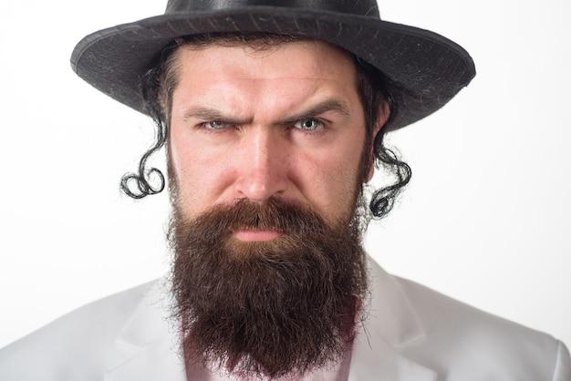 Żyd brodaty żydowski mężczyzna z bliska portret brodaty ortodoksyjny żydowski mężczyzna purim biznes