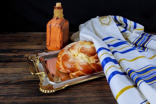 Żydowska ceremonia kiddush powitania sobotniego szabatu lub świątecznego żydowskiego święta