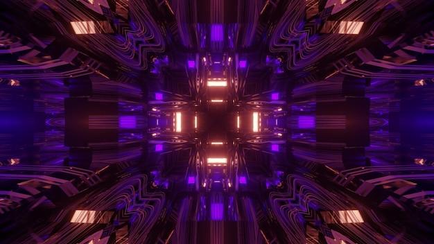 Żywa ilustracja 3d abstrakcyjna wizualna niekończąca się pętla tunelu ze świecącymi geometrycznymi neonami i odbiciami światła