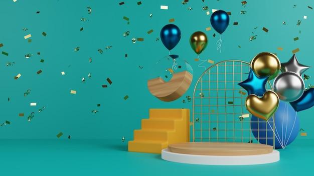 Żywe podium z balonem i konfetti