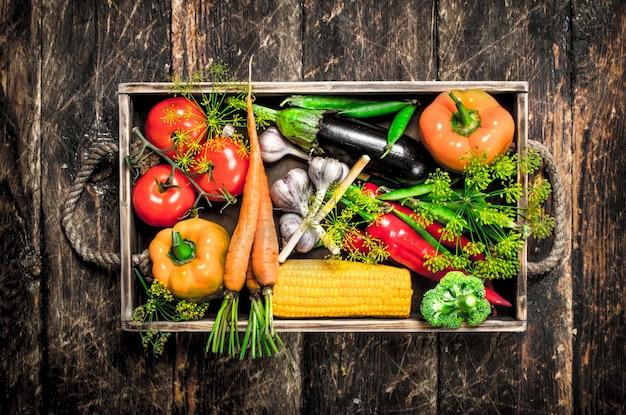 Żywność ekologiczna świeże zbiory warzyw na drewnianym tle