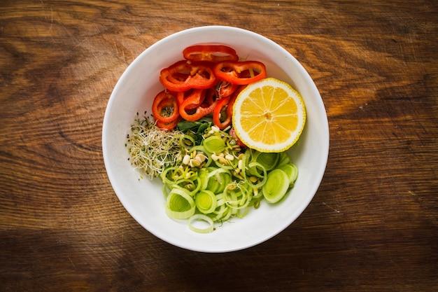 Żywność i zdrowie pokarm superfood widok z góry płasko leżący