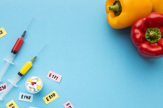 Żywność modyfikowana gmo wstrzyknięta w laboratorium
