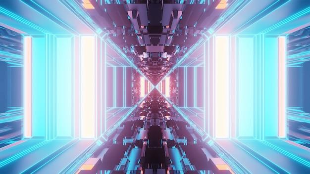 Żywy abstrakcyjny psychodeliczny wzór korytarza na tle w kolorach niebieskim i fioletowym