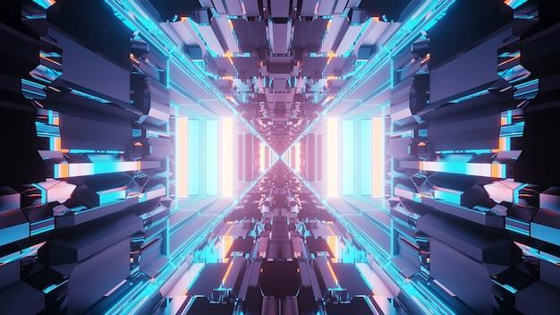 Żywy abstrakcyjny psychodeliczny wzór korytarza w kolorach niebieskim i fioletowym