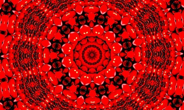 Żywy krwistoczerwony kalejdoskop fraktalny, cyfrowa grafika do kreatywnego projektowania graficznego