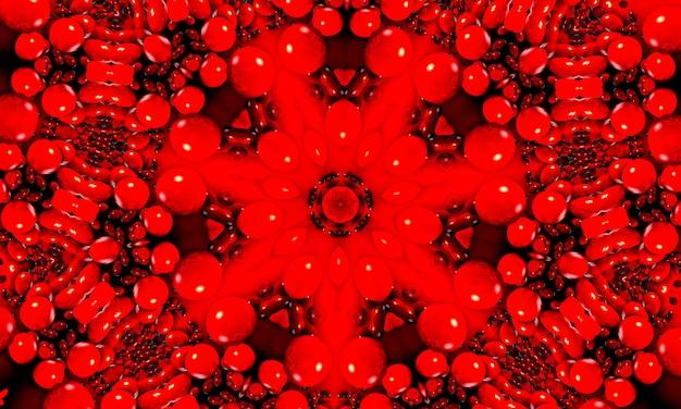 Żywy krwistoczerwony kalejdoskop fraktalowy, cyfrowa grafika do kreatywnego projektowania graficznego.